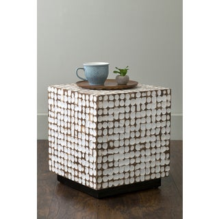 The Curated Nomad Macondry White Coconut Shell Accent Table