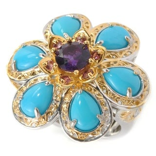 Michael Valitutti Palladium Silver Sleeping Beauty Turquoise with African Amethyst and Pink Tourmaline Flower Ring