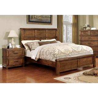 Furniture of America Stamson Rustic 2-piece Antique Oak Bed and Nightstand Set