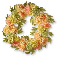 National Tree Company Cream Fabric 24-inch Artificial Peony Wreath