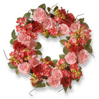 National Tree Company Pink Fabric 24-inch Mixed Rose Wreath