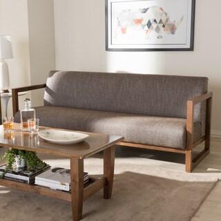 Baxton Studio Philomela Mid-Century Modern Grey Upholstered Sofa