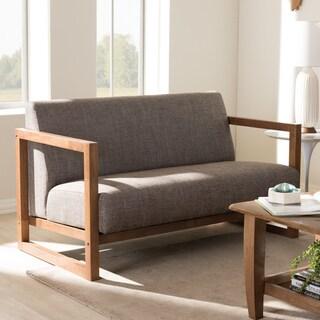 Baxton Studio Philomela Mid-Century Modern Grey Upholstered Loveseat