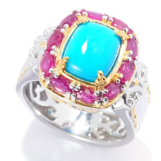 Michael Valitutti Palladium Silver Sleeping Beauty Turquoise and Ruby Halo Cocktail Ring