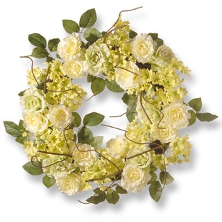 National Tree Company Green & Cream 24-inch Rose Wreath