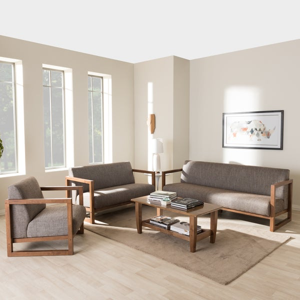 Shop baxton studio philomela mid century modern grey Living room furniture sets studio