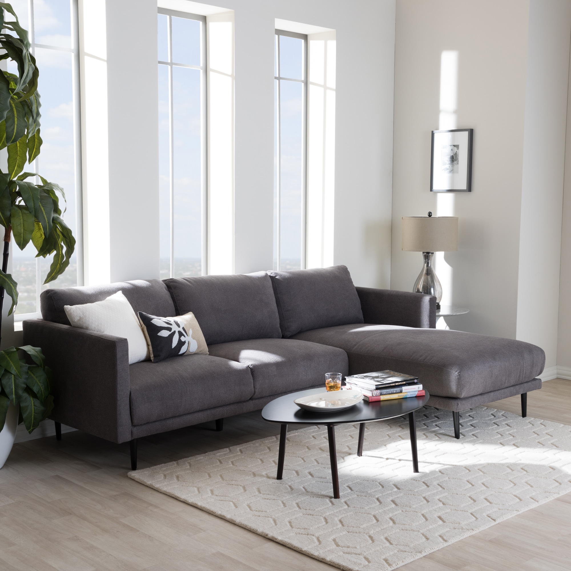 Baxton Studio Ptolema Mid Century Modern Grey Upholstered Sectional Sofa