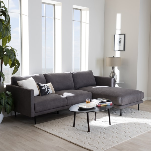 Baxton Studio Ptolema Mid-Century Modern Grey Upholstered Sectional Sofa