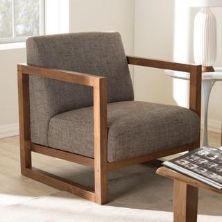 Baxton Studio Philomela Mid-Century Modern Grey Upholstered Lounge Accent Chair