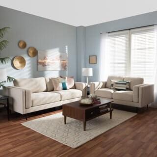 Baxton Studio Eurybia Mid-Century Modern Upholstered Living Room Sofa Set