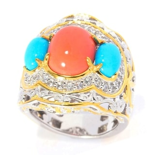Michael Valitutti Palladium Silver Sleeping Beauty Turquoise with Salmon Bamboo Coral and White Zircon Cocktail Ring