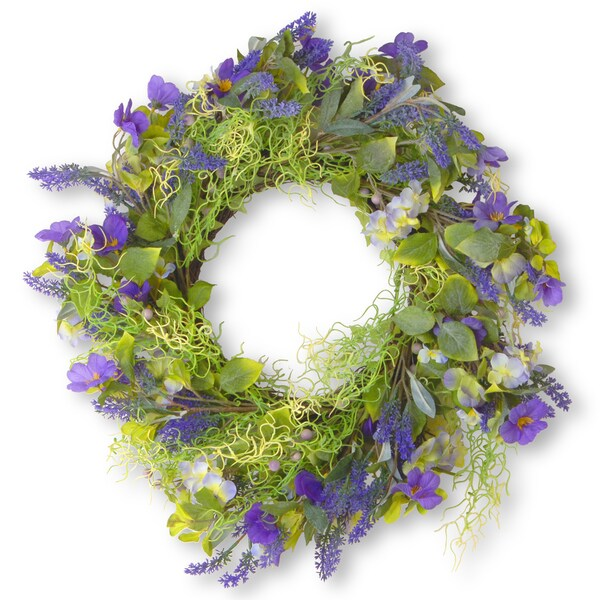 The National Tree Company Green and Purple 24-inch Spring Wreath