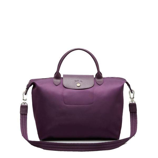 Shop Longchamp Le Pliage Neo Bilberry Purple Canvas Tote Bag - Free ... 3997500049df1