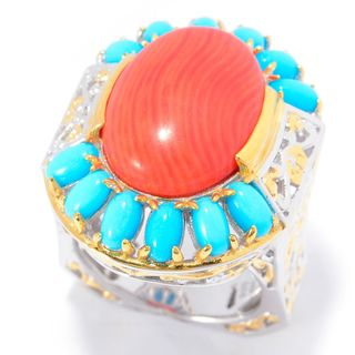 Michael Valitutti Palladium Silver Salmon Bamboo Coral and Sleeping Beauty Turquoise Cocktail Ring