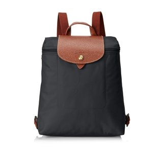 Longchamp Le Pliage Black Leather/Nylon Fashion Backpack