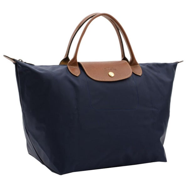 afd14ece47e5e Shop Longchamp Le Pliage Navy Blue Canvas Foldable Shoulder Tote Bag ...