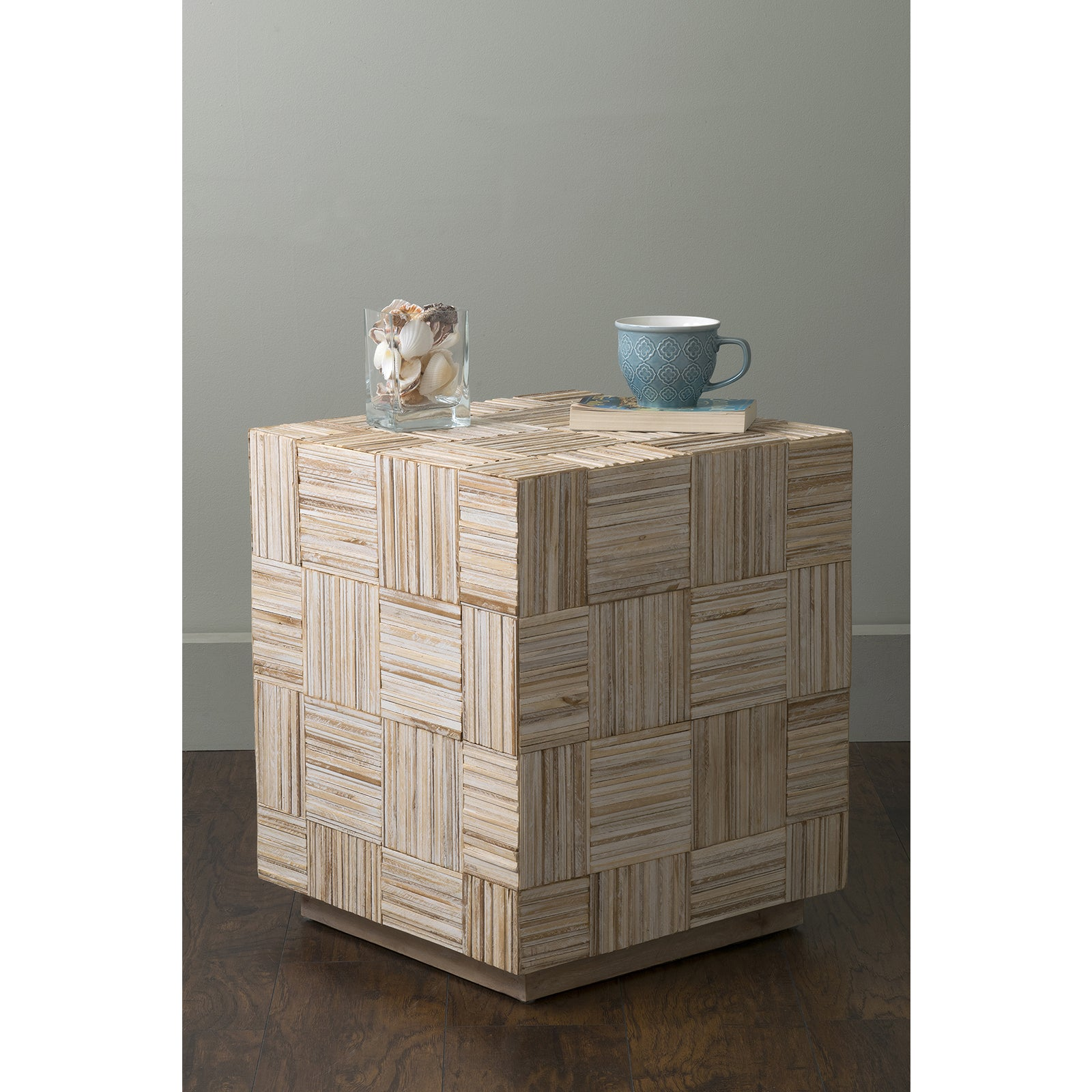 East At Main's Avalon Off-White (Beige) Teakwood Square A...