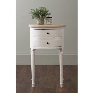 East At Main's Seneca White Teakwood Square Accent Table