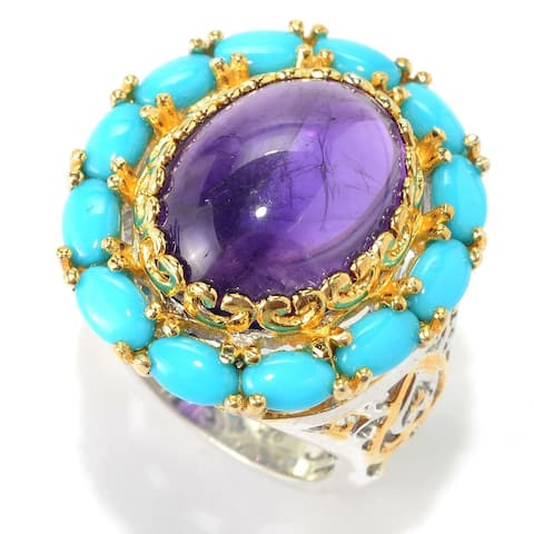 Michael Valitutti Palladium Silver African Amethyst and Sleeping Beauty Turquoise Cocktail Ring