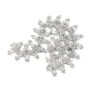 Luxiro Sterling Silver Marquise Cubic Zirconia Pin Brooch