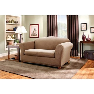 sure fit stretch stripe 2piece loveseat slipcover