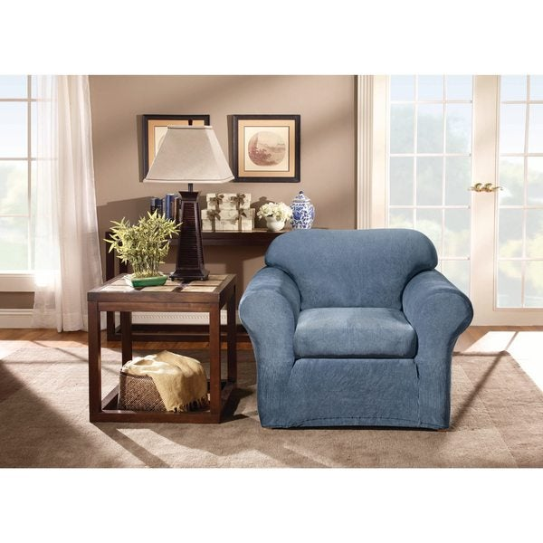 Sure Fit Stretch Stripe 2 Piece Chair Slipcover   Free Shipping Today    Overstock.com   19965078