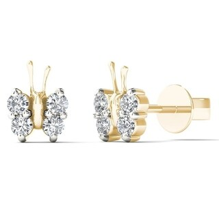 AALILLY 10k Yellow Gold 1/6ct TDW Diamond Adorable Butterfly Stud Earrings