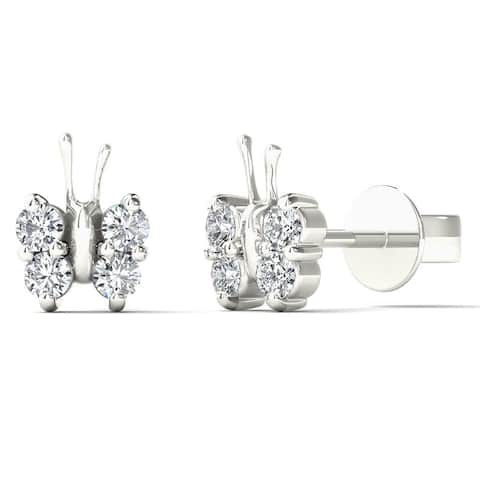 AALILLY 10k White Gold 1/5ct TDW Diamond Adorable Butterfly Stud Earrings (H-I, I1-I2)