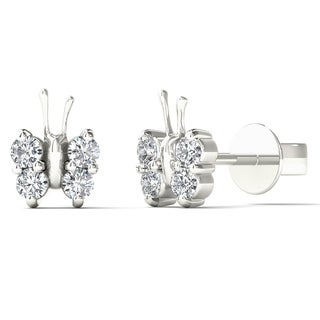 Aalilly 10k White Gold 1/6ct TDW Diamond Adorable Butterfly Stud Earrings