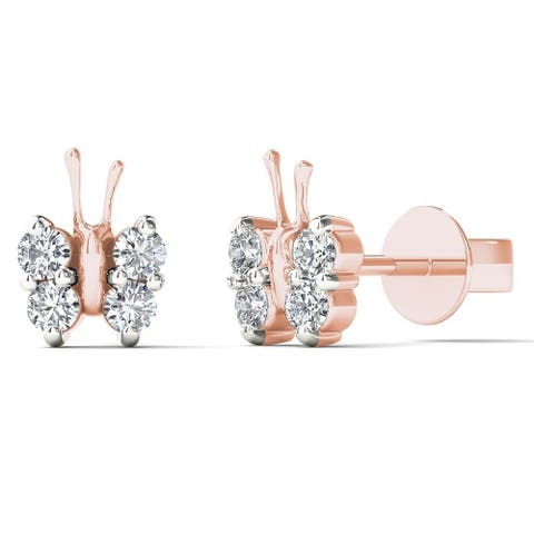 AALILLY 10k Rose Gold 1/5ct TDW Diamond Adorable Butterfly Stud Earrings (H-I, I1-I2)