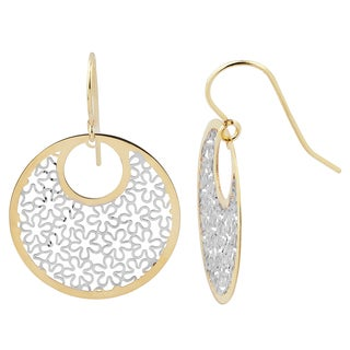 Fremada 14k Two-tone Gold Floral Round Dangle Earrings