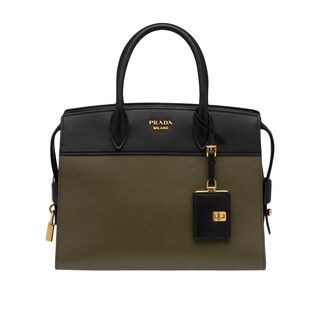 Prada Esplanade Military Green/Black Leather Satchel Handbag