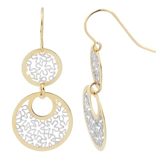 Fremada 14k Two-tone Gold Floral Circles Dangle Earrings