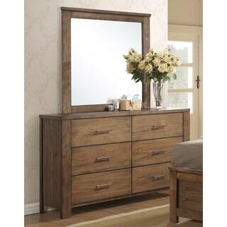 Progressive Brayden Brown Rubberwood and MDF 6-drawer Dresser with Mirror