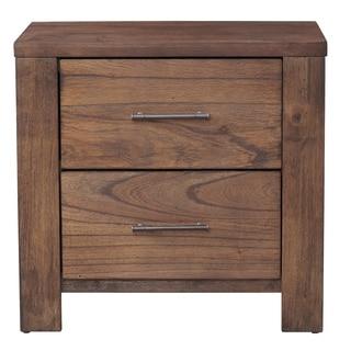 Progressive Brayden Brown Rubberwood and MDF 2-drawer Nightstand