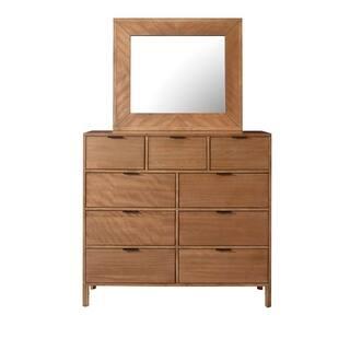 Progressive Strategy Brown Wood 9-drawer Dresser and Mirror