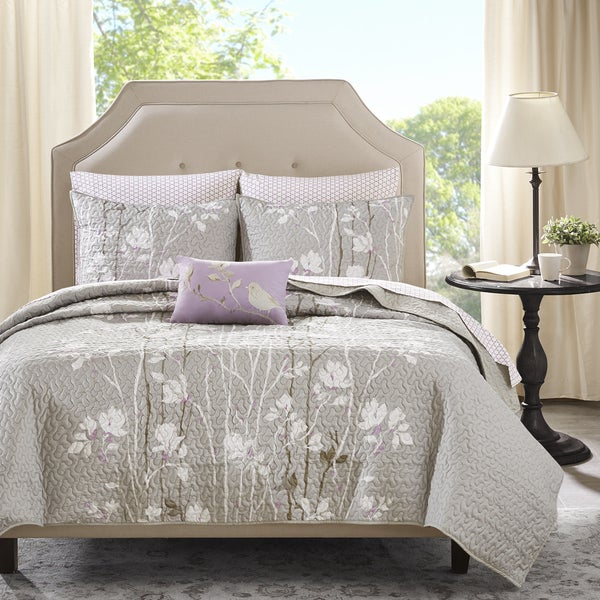 Madison Park Essentials Fulton Grey Complete Coverlet and Cotton Sheet Set