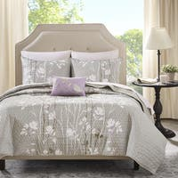 Madison Park Essentials Fulton Grey Complete Coverlet and Sheet Set