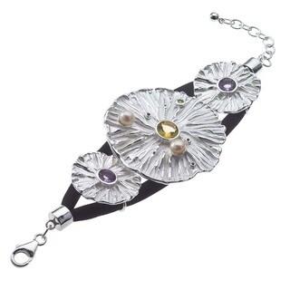 Silk Cord, Silver, Gemstone, and Pearl Bracelet