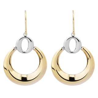 Fremada 14k Two-tone Gold Stylish Circles Dangle Earrings