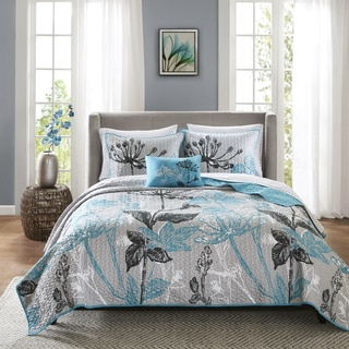 Madison Park Essentials Ashby Aqua Complete Coverlet and Cotton Sheet Set