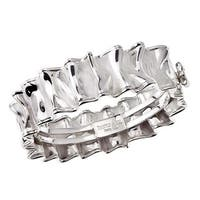 Sterling Silver Ruffle Hinged Bangle Bracelet
