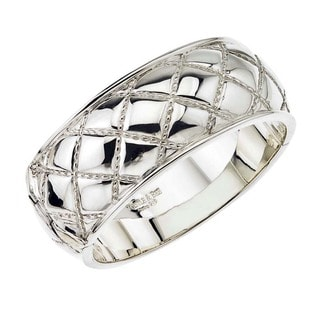 Ever One Women's Sterling Silver Wide Quilted Bangle Bracelet