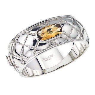 Sterling Silver Citrine Quilted Bangle