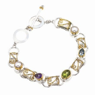 Sterling Silver, Gold, and Colored Gemstone Bracelet