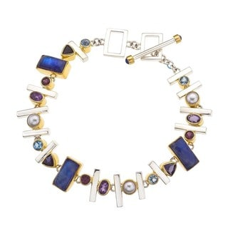 Silver Overlay Multicolored Gemstone Bracelet