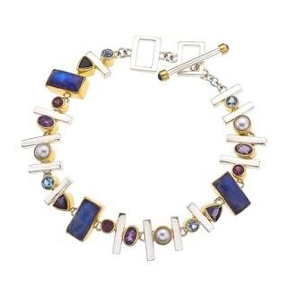 Silver Overlay Multicolored Gemstone Bracelet