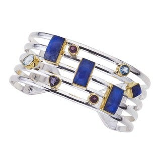 Silver Overlay Colored Gemstones Cuff Bracelet
