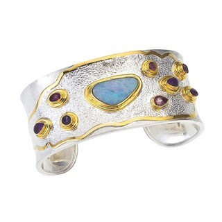 Silver and Gold Vermeil Opal and Gemstone Cuff