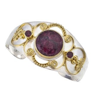 Silver and Gold Vermeil Eudialyte Cuff